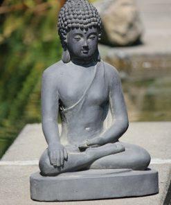 tuinbeeld Boeddha zittend donker grijs