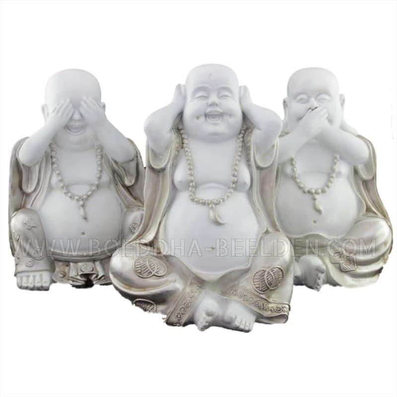 lachende boeddha set horen zien zwijgen wit zilver 22cm