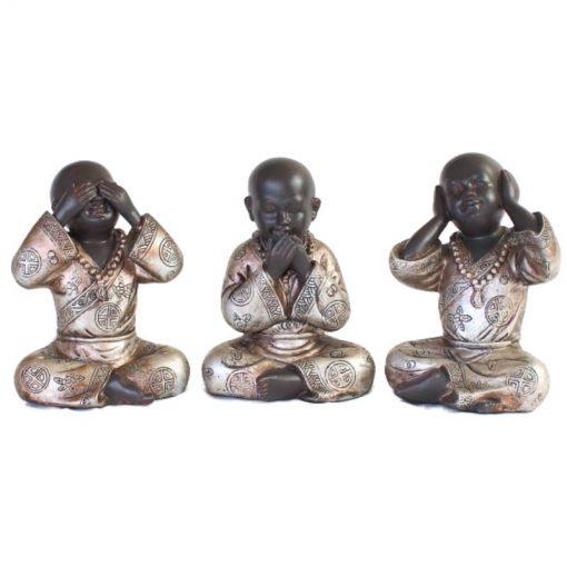 Set shaolin monniken 15cm voorzijde bruin zilver groot