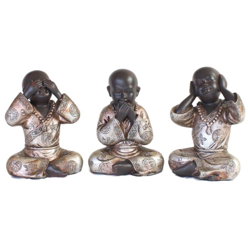 Set Shaolin Monnik Horen Zien En Zwijgen 15cm : Boeddha-beelden.com