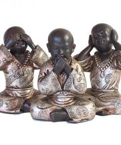 Set shaolin monniken 15cm voorzijde bruin zilver