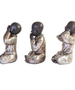 Set shaolin monniken 15cm linkerzijde bruin zilver groot