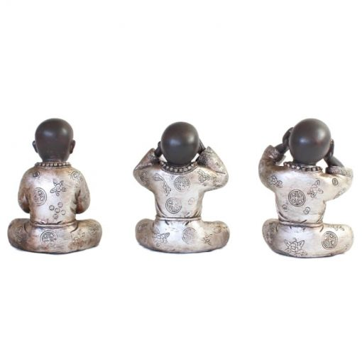 Set shaolin monniken 15cm achterzijde bruin zilver groot