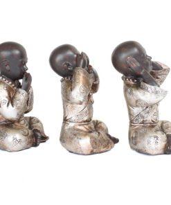 Set shaolin monniken 15cm rechterzijde bruin zilver groot