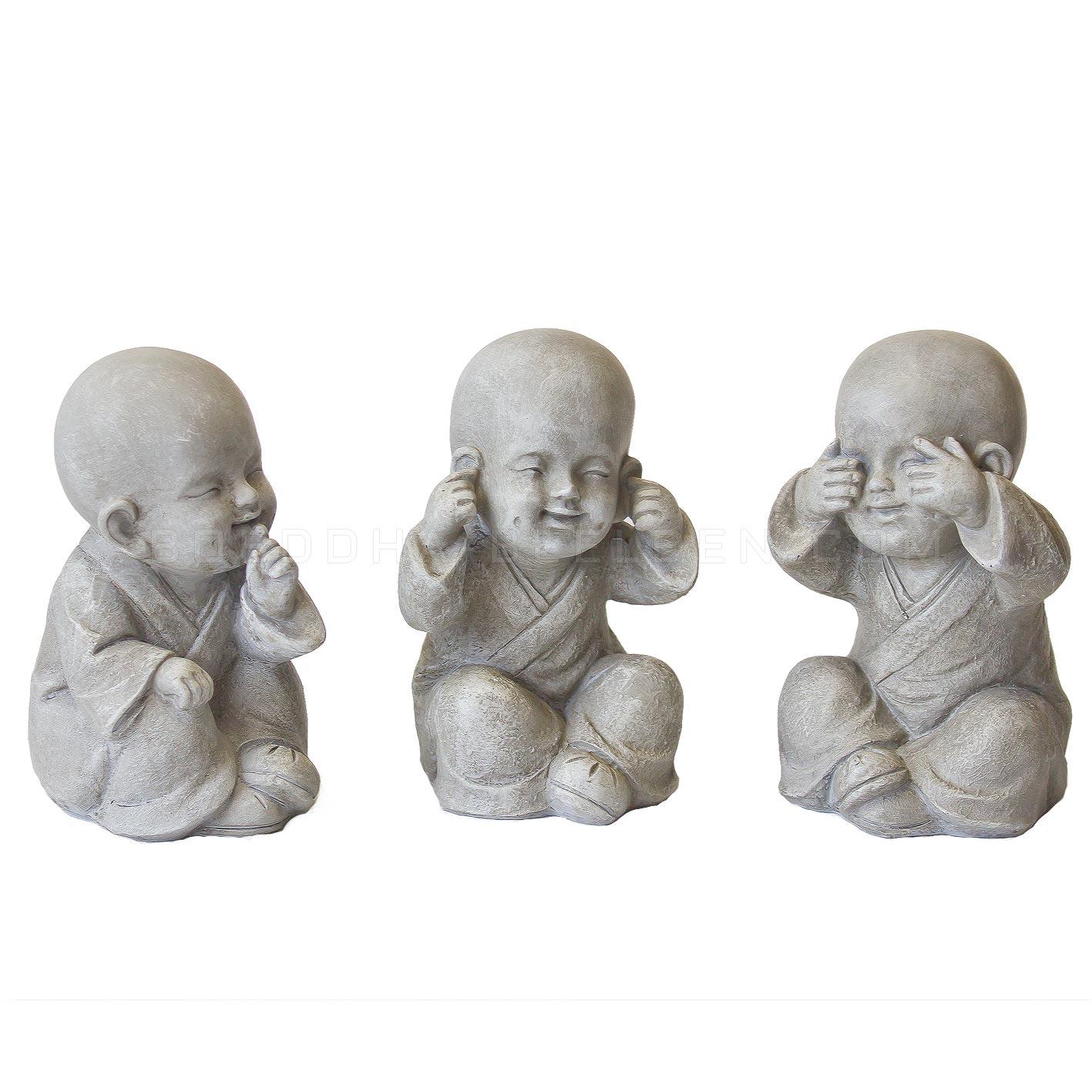 Set Horen Zien en Zwijgen Kindermonniken 12cm