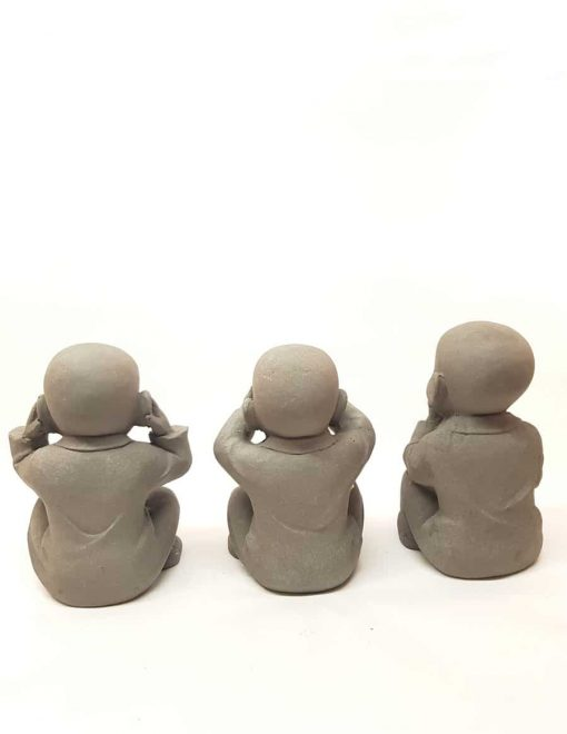 Kindermonniken Horen Zien en Zwijgen Fiberclay 25cm & 30cm