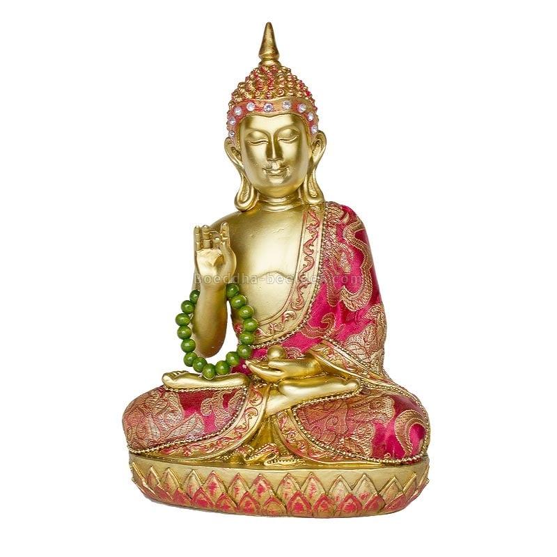 Thaise Boeddha 22cm Stoffen Kleding Goud Rood : Boeddha-beelden.com