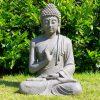 Tuinbeeld Zittende Boeddha gerechtigheid Grijs