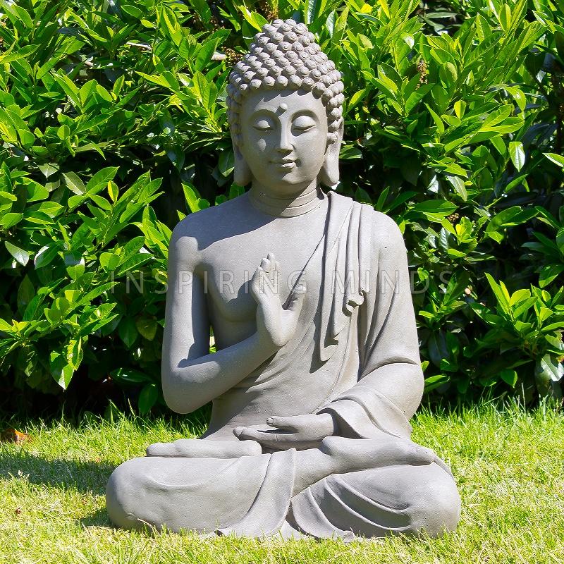 Zittende Boeddha Tuinbeeld Grijs   Boeddha beelden com