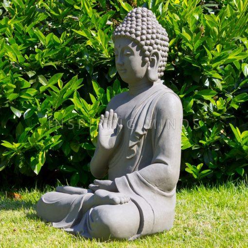Linkerzijde tuinbeeld boeddha gerechtigheid grijs 73 centimeter