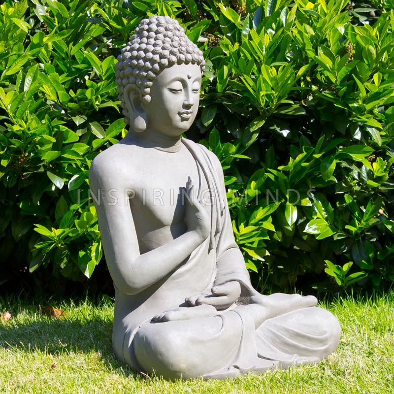 Boeddha Beeld Beton.Zittende Boeddha Tuinbeeld Grijs Boeddha Beelden Com