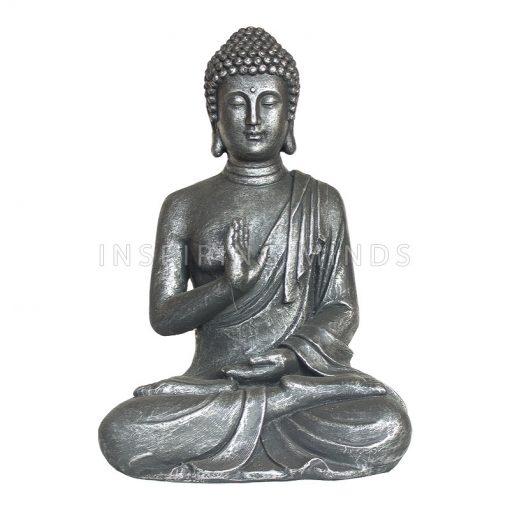 Zittende Boeddha beeld Abhayamudra 40cm Antiek Zilver