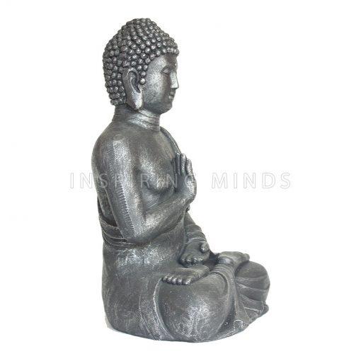 Boeddha Abhayamudra 40cm Antiek Zilver2
