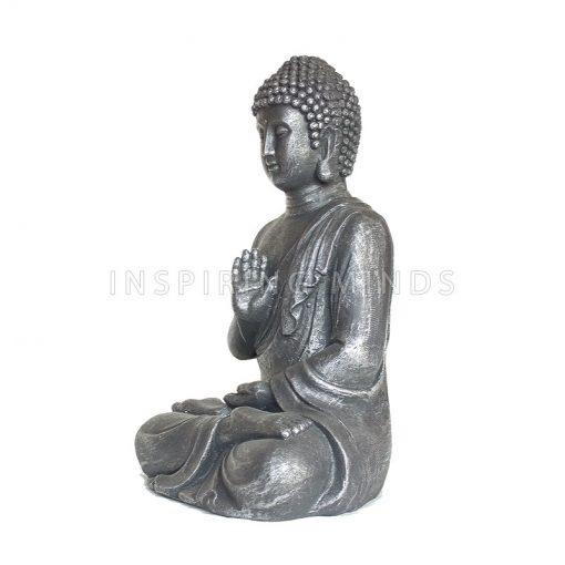 Boeddha Abhayamudra 40cm Antiek Zilver3