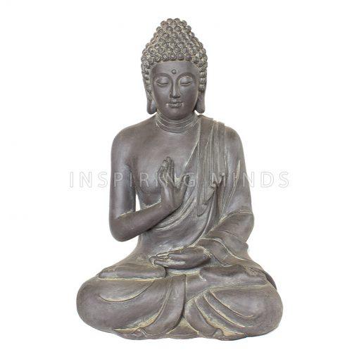 Zittende Boeddha Tuinbeeld Antiek Zilver & Donker Grijs