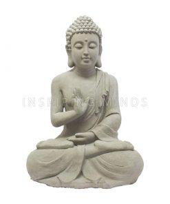 Groot zittend boeddha beeld 60cm grijs