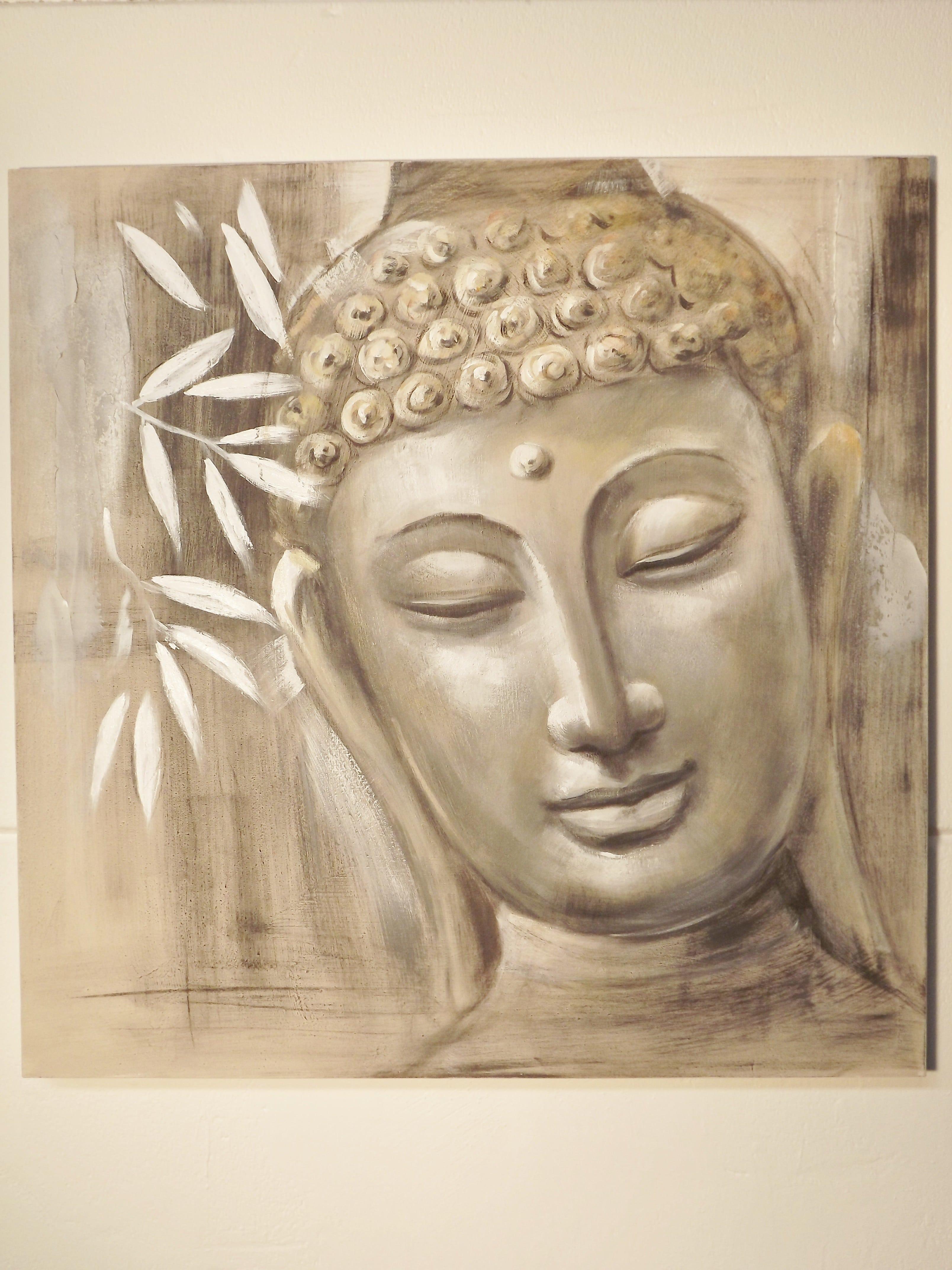 artistiek olieverf schilderij boeddha 80 cm boeddha