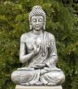 Boeddha Tuinbeeld Zittend 75cm Antiek Zilver 1