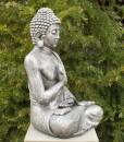 Boeddha Tuinbeeld Zittend 75cm Antiek Zilver 2