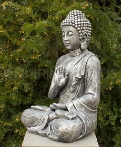 Boeddha Tuinbeeld Zittend 75cm Antiek Zilver 3