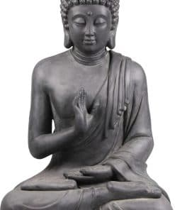 Groot-zittende-boeddha-beeld-donkergrijs-voorzijde