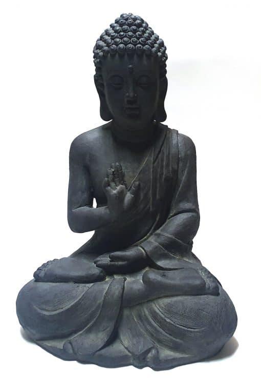 Tuinbeeld-Boeddha-gerechtigheid-voorzijde-wit