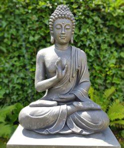 Zittend Boeddha Tuinbeeld Antiek Zilver & Donker Grijs