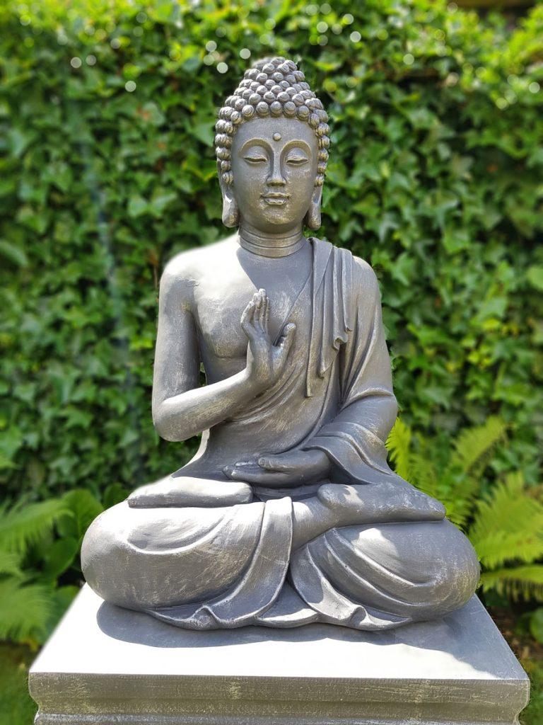 Zittende Boeddha Tuinbeeld Antiek Zilver & Donker Grijs-817XL-AS