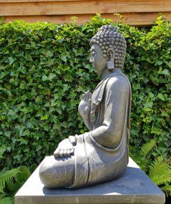 Zittende Boeddha Tuinbeeld Antiek Zilver & Donker Grijs 817XL-AS-achter (2)