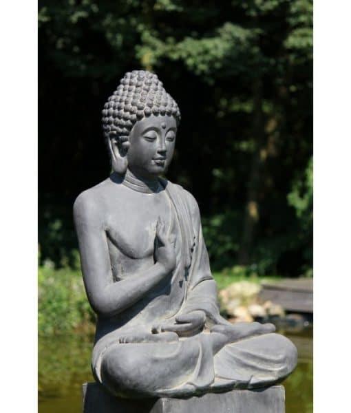 boeddhabeeld-geruststelling-zwart-fiberclay-73cm-2
