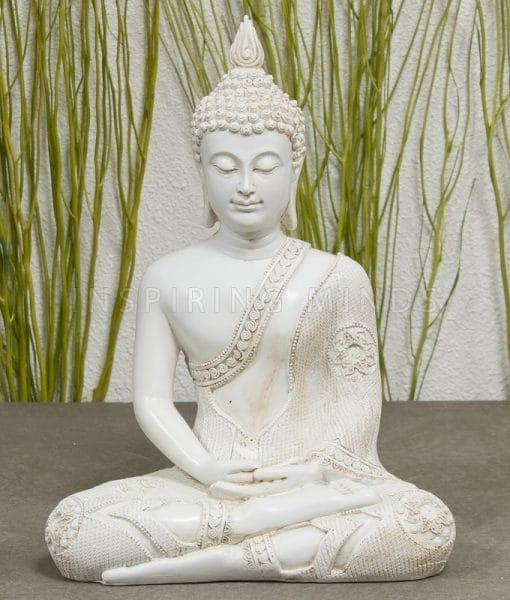 Meditatie Boeddha Wit 29cm