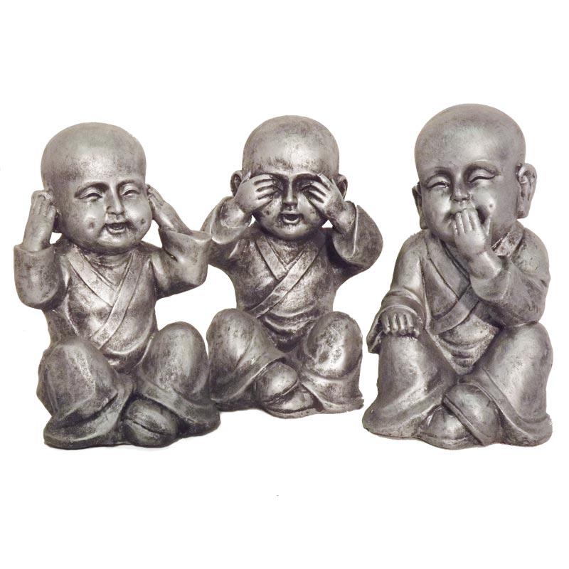 Horen Zien En Zwijgen Beeldjes.Kindermonniken Horen Zien En Zwijgen Fiberclay 25cm 30cm Boeddha Beelden Com