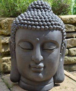 Boeddhahoofd-tuinbeeld-donkergrijs