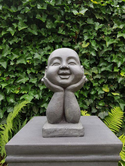 Tuinbeeld Happy Boeddha Hoofd 37cm