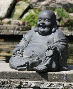 Tuinbeeld Happy Dikbuik Boeddha donker