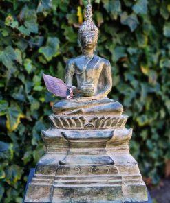 Brons-zittende-Boeddha-Laos-met-kom-1
