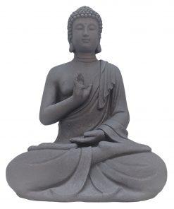 Medium zittende Boeddha 40 cm grijs