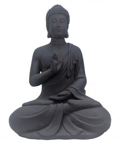 Medium zittend boeddha beeld donker grijs 40cm