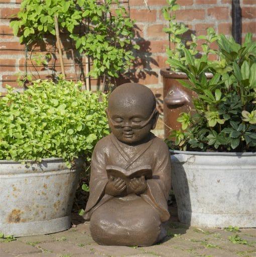 Shaolin-beeld-wijsheid-44cm-roestkleur