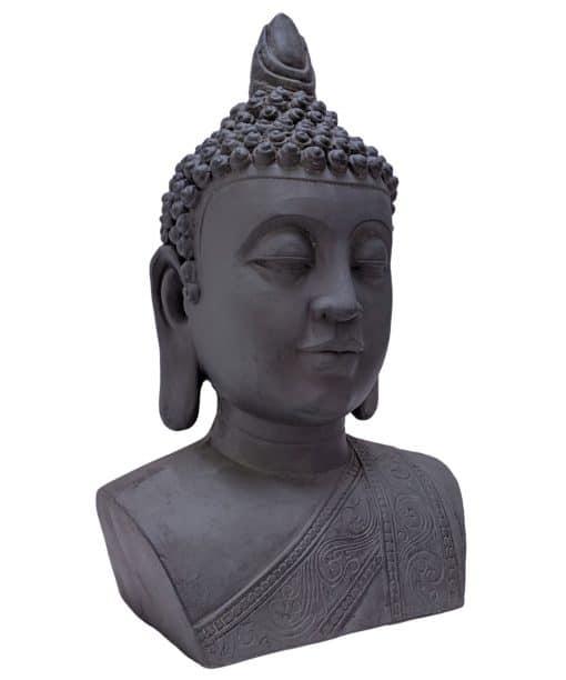 Boeddhahoofd Thaise Boeddha 46cm donkergrijs