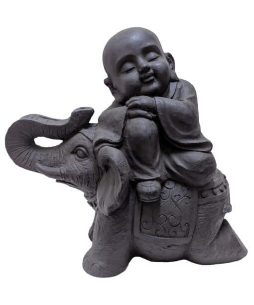 Shaolin monniken beeld zittend op olifant 44cm