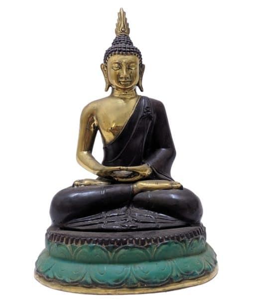 Unieke bronzen zittende boeddha 35 cm hoog