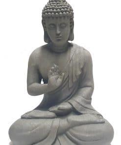 Boeddha beeld zittend – 29 cm boeddhabeeld grijs