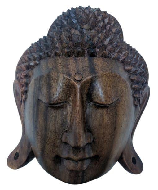 Boeddha hoofd uit donker hout 20 cm wanddecoratie