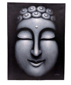 Schilderijen op canvas boeddha 80 cm zilver