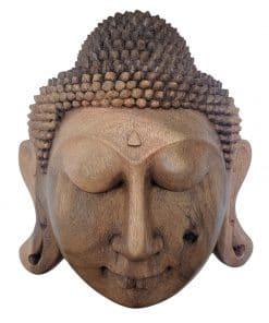 Boeddha hoofd uit licht hout gesneden 30 cm wanddecoratie