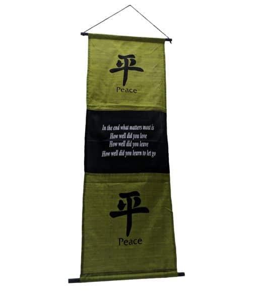 Wanddecoratie spreuk op doek – Banner 135 cm met tekst Peace