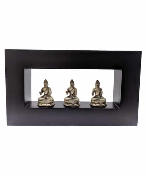 Zittende boeddhabeelden in lijst - brons 28 cm meditatie houding