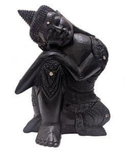Donker slapend boeddha beeldje voor binnen 30 cm