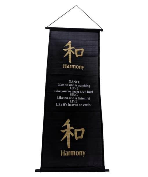Wanddecoratie spreuk op doek – Banner 135 cm met tekst harmonie
